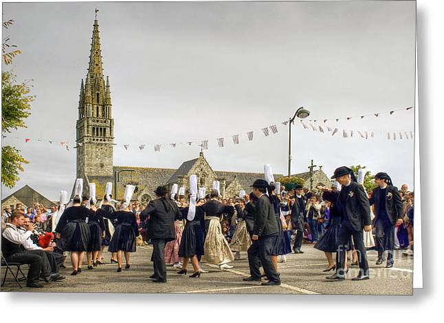 Breton Dancing Greeting Card by Sophie De Roumanie