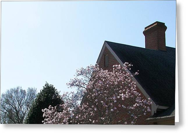 Greeting Card featuring the photograph Brick And Blossom by Pamela Hyde Wilson