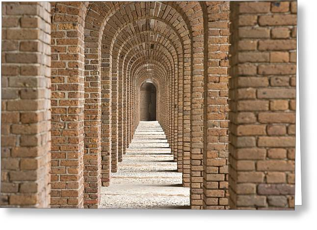Brick Arches At Fort Jefferson In Dry Greeting Card by Michael Melford