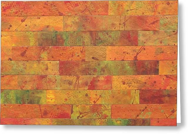 Brick Orange Greeting Card by Kathy Sheeran