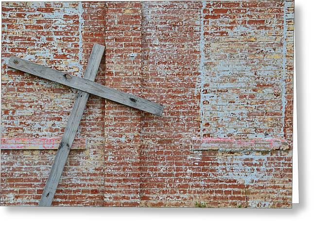 Brick Wall Cross Greeting Card
