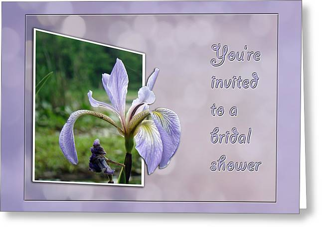 Bridal Shower Invitation - Blue Flag Iris Wildflower Greeting Card