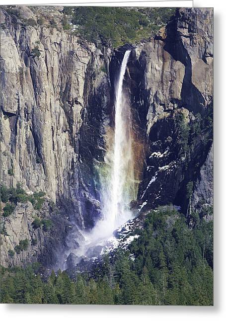 Bridal Veil Falls Rainbow In Yosemite Greeting Card