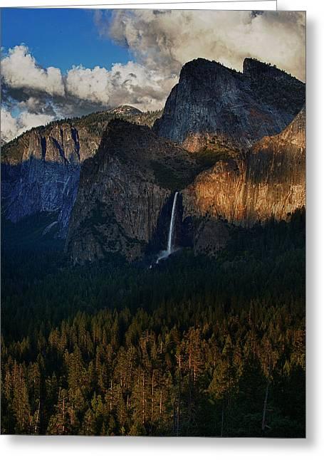 Bridalveil Falls At Sunset Greeting Card by Rick Berk