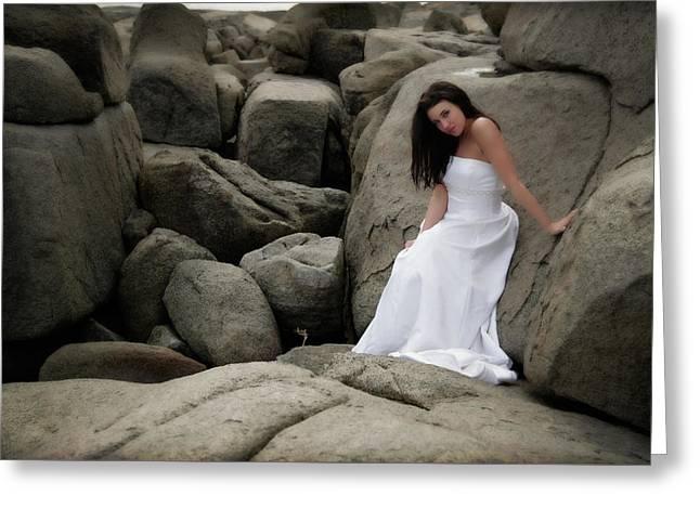 Bride On The Rocks Greeting Card by Rick Berk