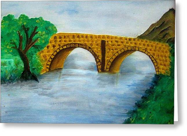 Bridge-acrylic Painting Greeting Card by Rejeena Niaz