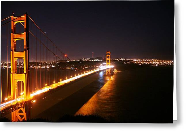 Bridge At Night Greeting Card by Michael Courtney