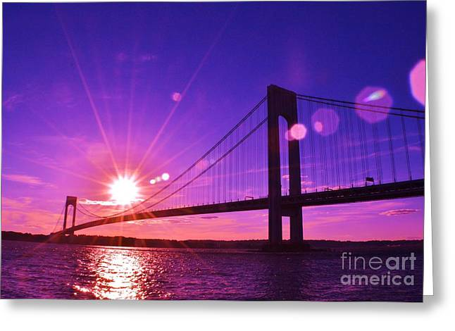Bridge At Sunset 1 Greeting Card by Artie Wallace