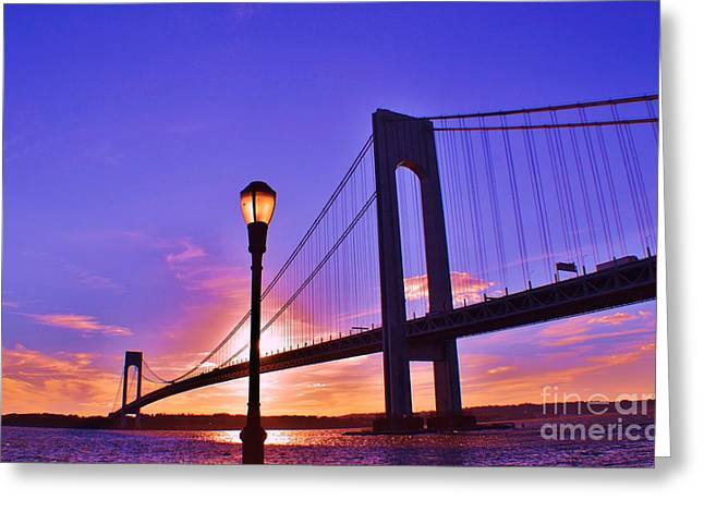 Bridge At Sunset 2 Greeting Card by Artie Wallace