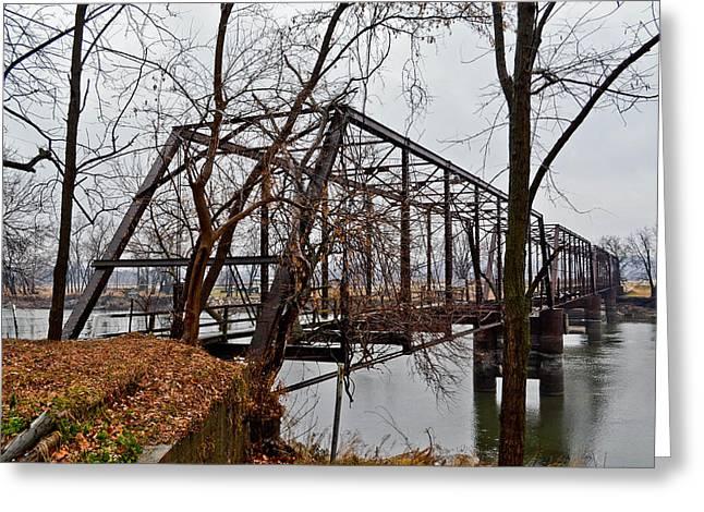 Bridge At Winter Greeting Card by Brenda Becker