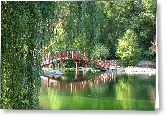 Bridge Beyond The Willows Greeting Card