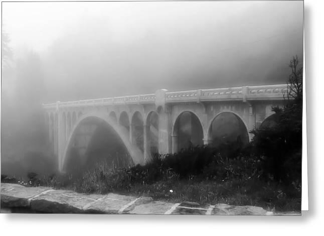 Bridge In Fog Greeting Card