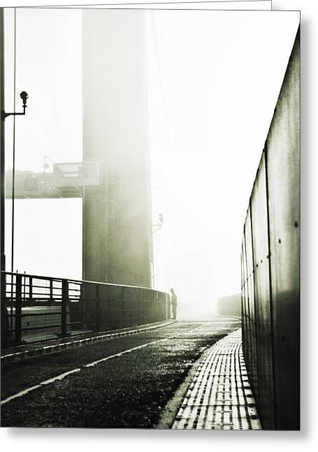 Bridge In Mist Greeting Card by Xenia Seurat