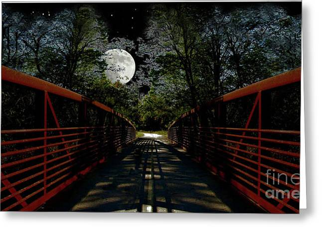 Bridge In The Moon Light Greeting Card by Cedric Hampton