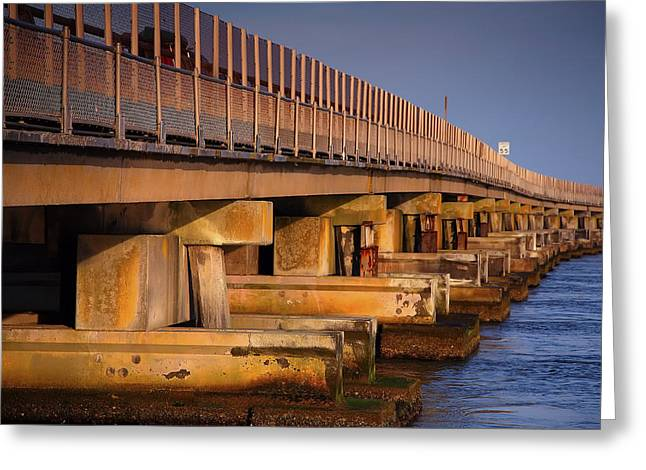 Bridge Over Oregon Inlet Greeting Card by Steven Ainsworth