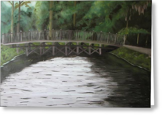 Bridge  Over River Greeting Card by Iris Nazario Dziadul