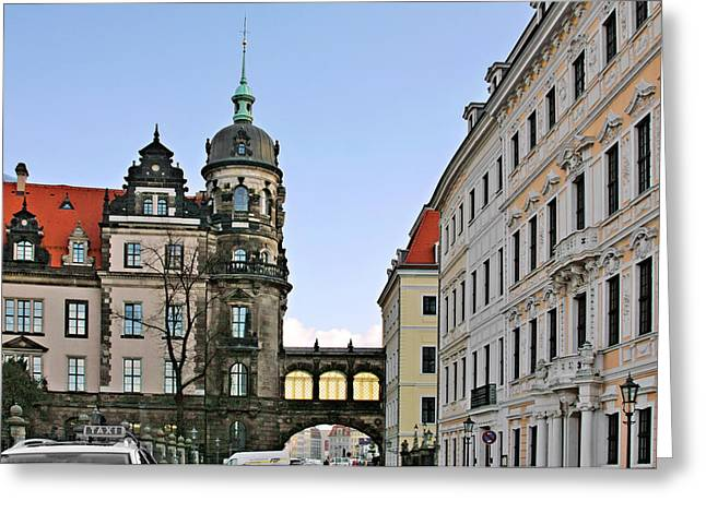 Bridge Over Taschenberg Street Dresden Greeting Card by Christine Till