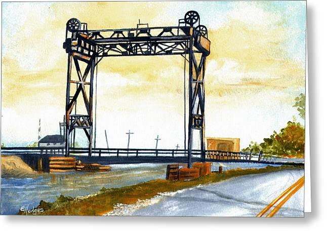 Bridge Over The Bayou Greeting Card by Elaine Hodges