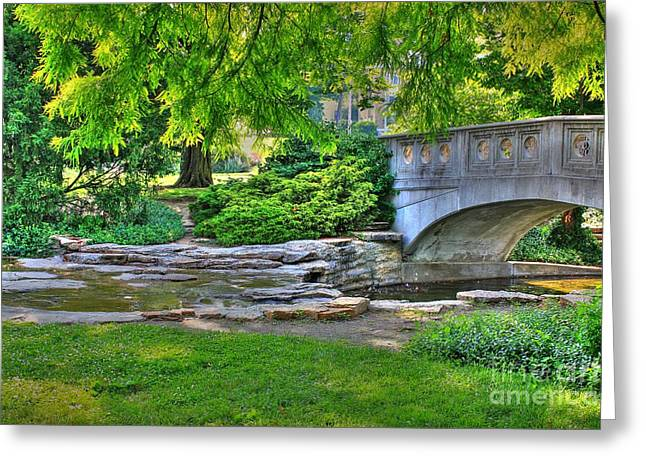 Bridge Over Waterway At Eden Park Greeting Card