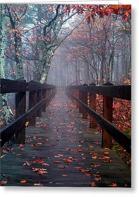 Bridge To Mist Woods Greeting Card
