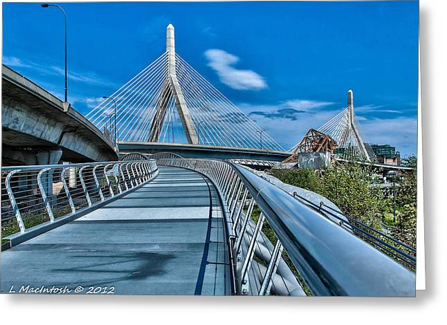 Bridges Meetting Greeting Card by Lauren MacIntosh
