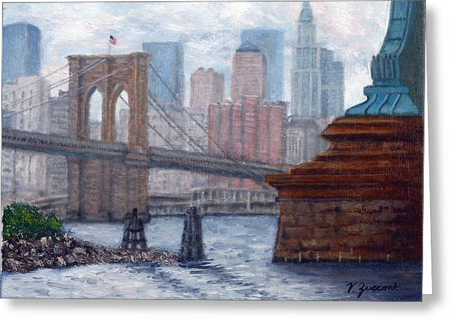 Bridges To Manhattan Greeting Card by Victor Zucconi
