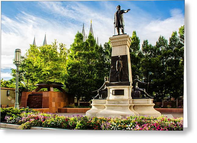 Brigham Statue Temple View Greeting Card by La Rae  Roberts