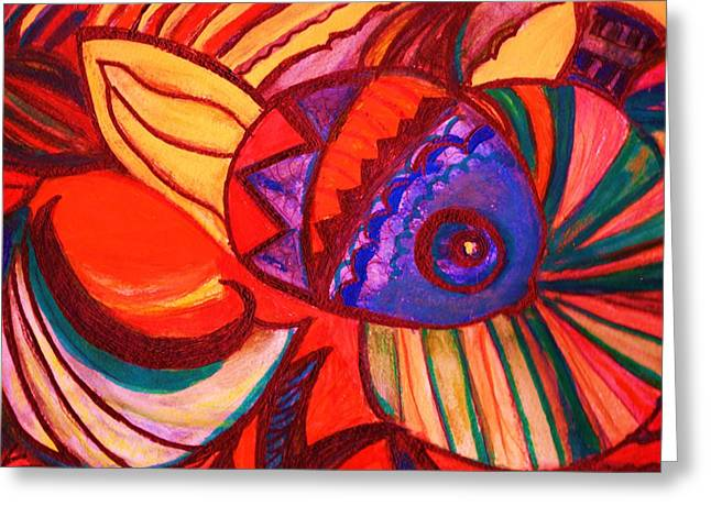 Bright Fishy With Fans And Swirls Greeting Card by Anne-Elizabeth Whiteway