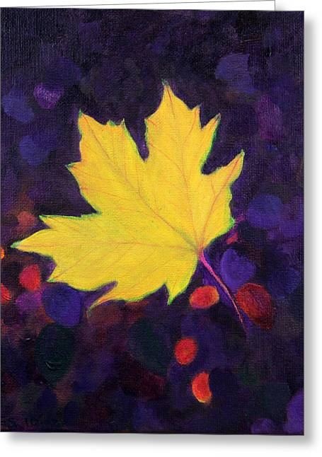 Greeting Card featuring the painting Bright Leaf by Janet Greer Sammons