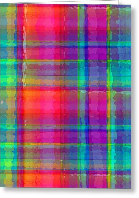 Bright Plaid Greeting Card by Louisa Knight