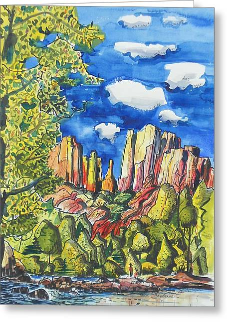Greeting Card featuring the painting Bright Spring Day by Terry Banderas
