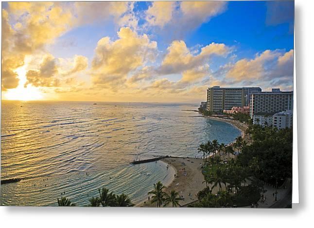 Bright Waikiki Sunset Greeting Card by Tomas del Amo