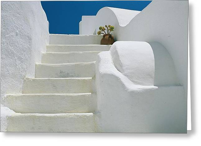 Bright White Stairs And Walls Of One Greeting Card
