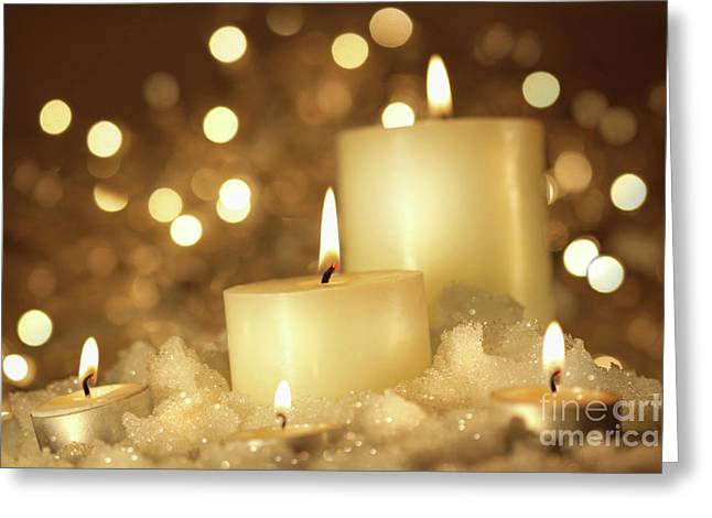 Brightly Lit Candles In Wet Snow Greeting Card by Sandra Cunningham