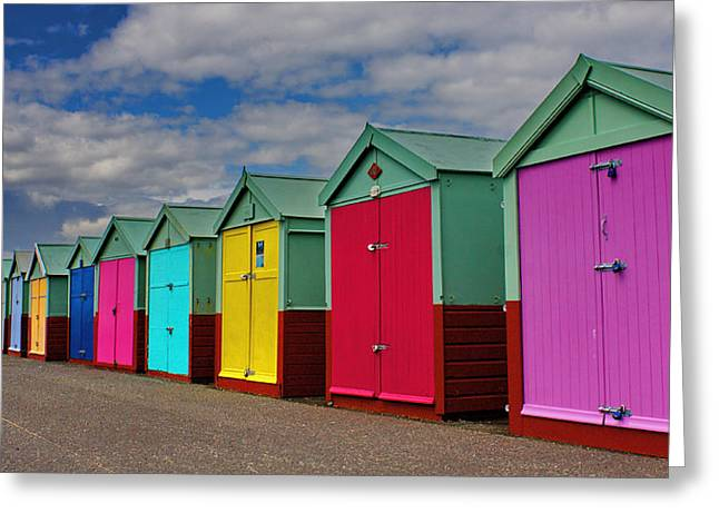 Brighton Beach Huts Greeting Card by Phil Clements