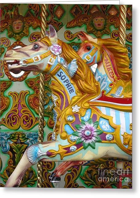 Brighton Carousel Greeting Card by Anne Gordon
