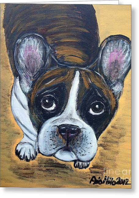 Brindle Frenchie Greeting Card