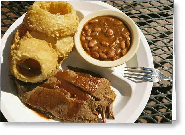 Brisket, Beans, & Rings At Famous Sonny Greeting Card