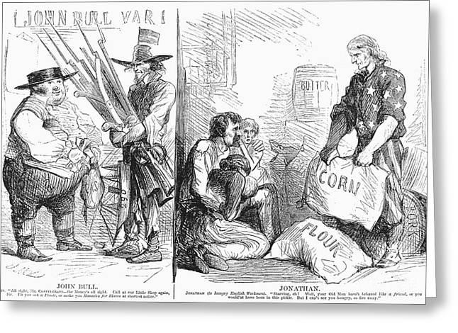 Britain And Civil War, 1862 Greeting Card by Granger
