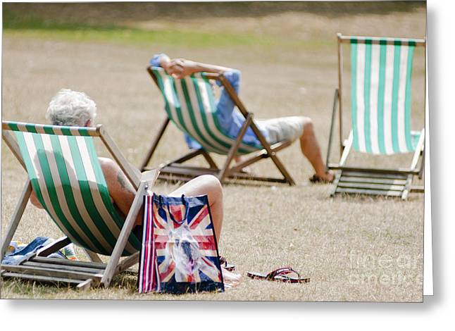 British Deck Chairs Greeting Card by Andrew  Michael