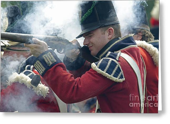 British Soldier Firing Greeting Card