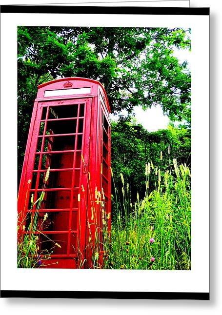 British Telephone Booth In A Field Greeting Card