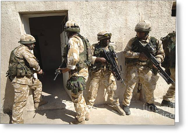 British Troops Training In Iraq Greeting Card by Andrew Chittock