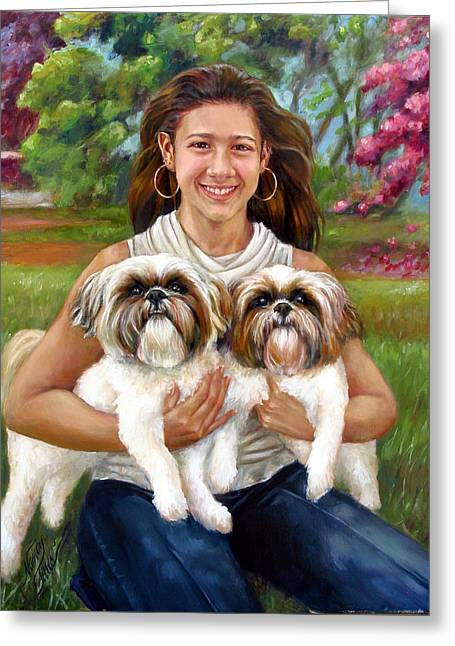 Greeting Card featuring the painting Brittany And Her Shih Tzusu by Nancy Tilles