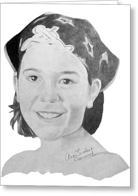 Greeting Card featuring the drawing Brittany Bettencourt by Ana Tirolese
