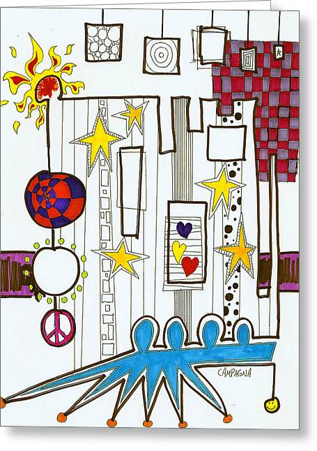 Greeting Card featuring the painting Broadway Boogie by Teddy Campagna