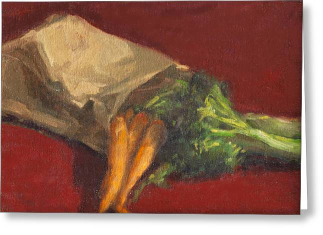 Broccoli And Carrots Greeting Card by Sarah Yuster