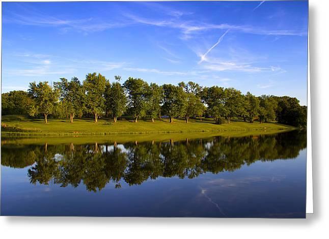 Broemmelsiek Park - Spring Reflections Greeting Card by Bill Tiepelman