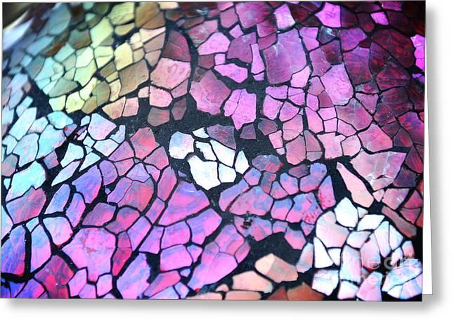 Broken Glass Mosaic Squares Greeting Card by Angela Waye