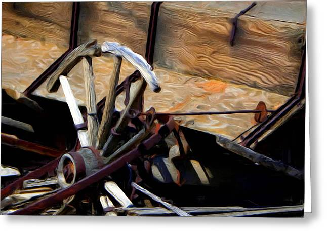 Broken Wagon Wheel Greeting Card